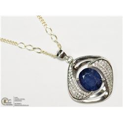 33) SILVER SAPPHIRE & CUBIC ZIRCONIA NECKLACE