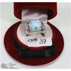 37) SILVER LARGE LARIMAR RING