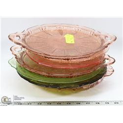 LOT OF ASSORTED COLOR DEPRESSION GLASS PLATTERS