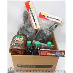 BOX W/ QUAKER STATE SAE 5W-30, SPOUT LIDS AND MORE