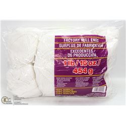 1LB BAG OF 100% ACRYLIC YARN WHITE