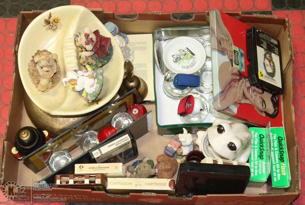 FLAT OF VINTAGE HOME DECOR & COLLECTIBLES,TINS
