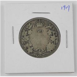 1917 Canada Silver 50 Cent - King George