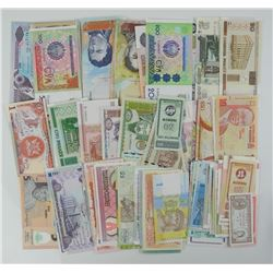 Lot (100) Assorted World Notes, UNC.
