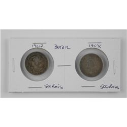 Lot (2) Coins Brazil - 1907 and 1908. 500 Reis