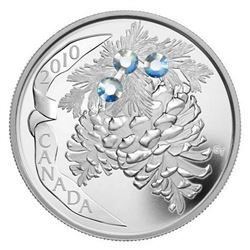 2010 $20 Holiday Pine Cones: Moonlight - Pure Silver Coin