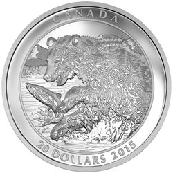 2015 $20 Grizzly Bear: The Catch - Pure Silver Coin