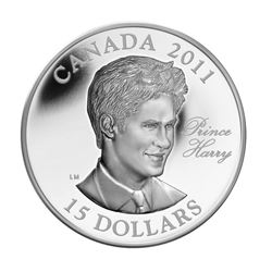 2011 $15 Continuity of the Crown: Prince Harry - Ultra High Relief Sterling Silver Coin