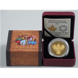2014 $20 The Seven Sacred Teachings: Love - Pure Silver Coin