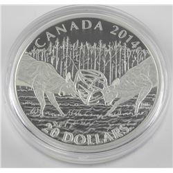 2014 $20 The White-tailed Deer: A Challenge - Pure Silver Coin