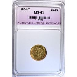 1854-O $2.50 GOLD MS-63