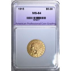 1915 $5.00 GOLD INDIAN MS-64