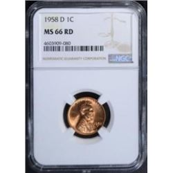 1958 D LINCOLN CENTS NGC MS-66 RD