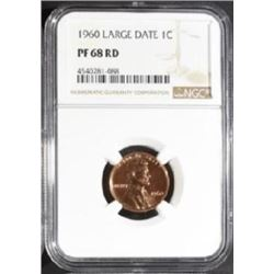 1960 Large Date LINCOLN CENTS NGC PF-68 RD