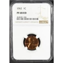 1962 LINCOLN CENTS NGC PF-68 RD