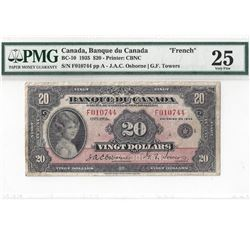 1935 $20 Bank of Canada French PMG VF25