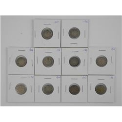 10x Canada Silver 10 Cent. Mix of Dates .800-.925