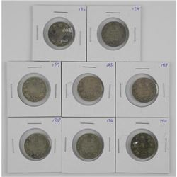 8x Canada Silver 25 Cent. Mix of Dates .800-.925