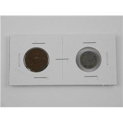 Lot (2) 1864-1868 2 and 3 Cent US Coins