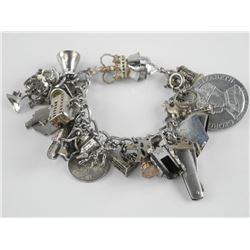 925 Sterling Silver Charm Bracelet with Charms. 10