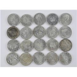 20x 'Estate' Canada Silver Dollars. Mixed Dates
