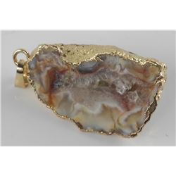 Genuine Agate Stone Pendant with 24kt Gold Clad Fr
