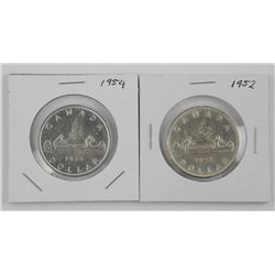 2x CAD Silver Dollar: 1952 and 1954