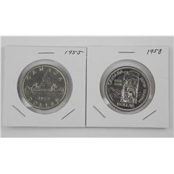2x CAD Silver Dollar: 1955 and 1958