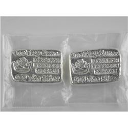 2x .9999 Fine Silver 1 Troy Ounce Bars