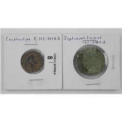 2x Ancient Coins - Septimus Severus 193-210 AD and