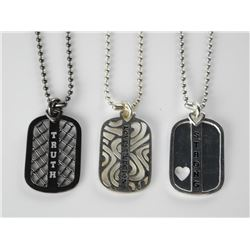 Lot (3) Love Legions Dog Tags with Swarovski Elements