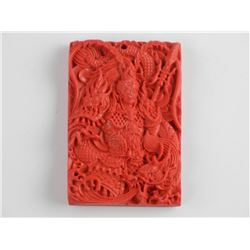 Carved Stone Pendant Red Cinnabar