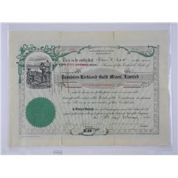 Stock Certificate, Dominion Kirkland Gold Mines