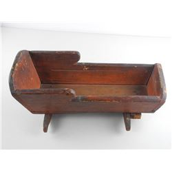 Antique Wood Doll Cradle 17x7x5""