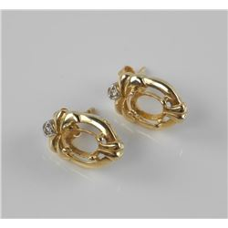 Estate Pair 10/14kt Gold Earring Mounts with Diamonds