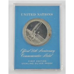 925 Sterling Silver UN 25 Years Medal