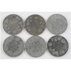 6x King Edward Silver 50 Cent: 1908, 1906, 1910, 1908, 1906, 1906