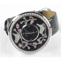 Ladies NEW- Fancy Watch, Leather Band, Swarovski Elements and Enamel Design. Storage Tag 468.00. May