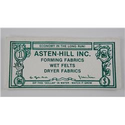 ASTEN HELL INC 1982 - Dollar Fabric Note Watch it Grow - 'Dip in Water'