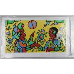 Norval Morrisseau (1931-2007) Litho - LE Giclee 'Heavenly Brothers' 17x33 Unframed. Hand Signed by C