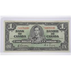 Bank of Canada 1937 - One Dollar Note. G/T