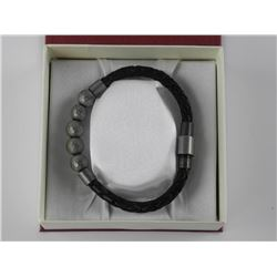 Gents Bracelet - Leather and Stainless Steel Bead