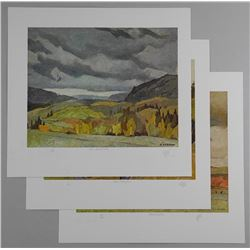 """3x A.J. Casson (1898-1992) Lithos. 11x13"""" Original Hand Signed Appraised Value 1900.00 Approved Embo"""