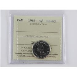 Canada 5 Cents. 1964 - MS63
