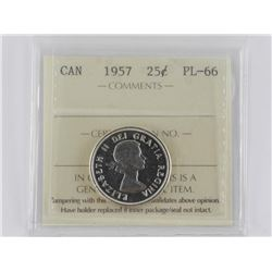 Canada 1957 Silver 25 Cent. PL-66. ICCS. (MER)