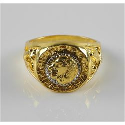 24kt Gold Clad Ring with Lion Head. Size 13.