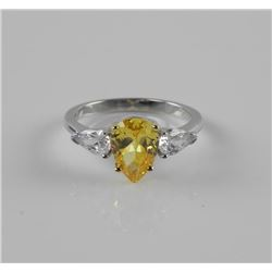 925 Silver Ring with Canary Swarovski Elements Pear Shape Solitaire. Size 7