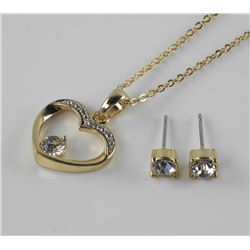 Gold Plated Ladies Heart Pendant and Stud Earrings with Swarovski ElementsåÊ