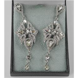 'Atelier' Custom Estate Earrings Contemporary Classics with 220 Swarovski Elements = 30.00cts with A