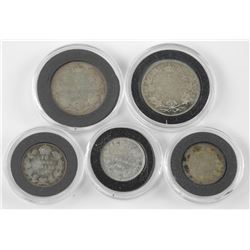 Lot (5) Canada Silver Coins - 1888, 1914 x 25cent, 1903, 1909, 1911 x 10 cent